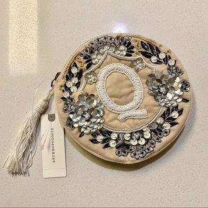 Letter Q Crest Monogram Sequin Embellished Pouch